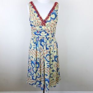 Kay Unger Oriental Asian Print Midi Beaded Dress 8